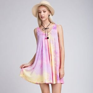 Soft Tie Dyed Mini Dress Dye - Pink Purple Yellow